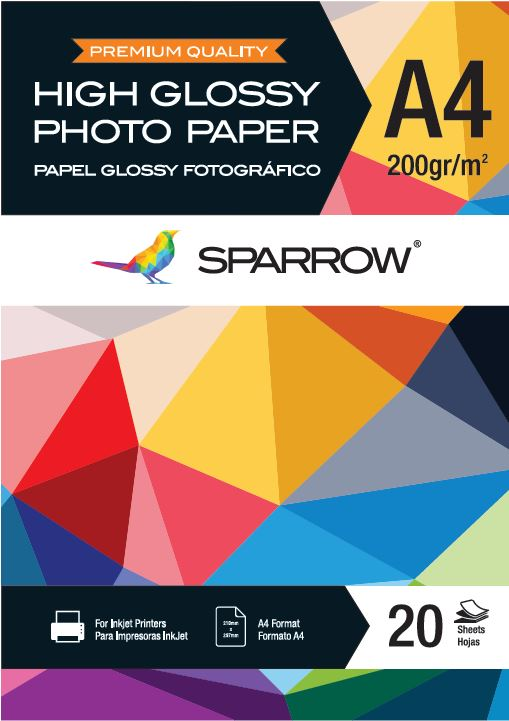 Papel Foto A4 200grs High Glossy x20